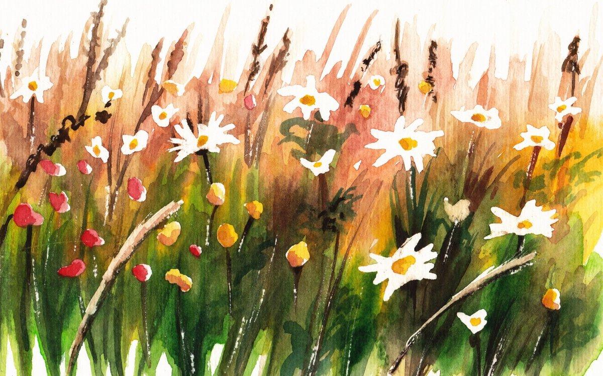 рисунок лесная поляна красками нарисовать тату