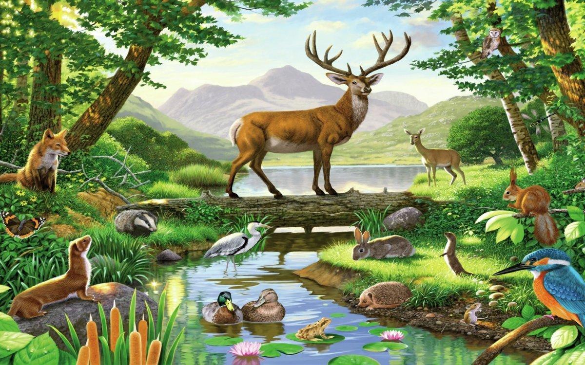 Картинки детские с животными на природе, дню