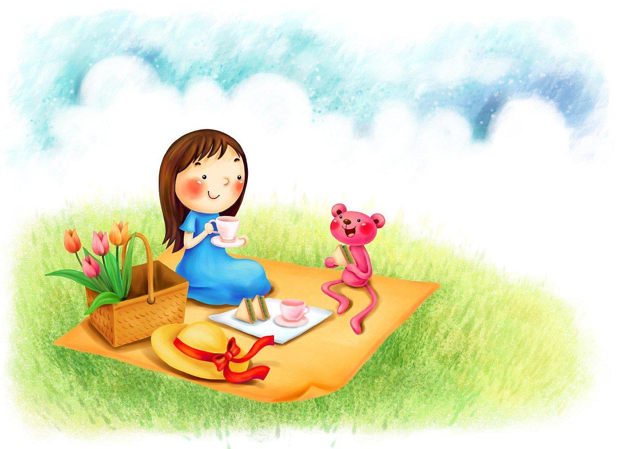Картинка с ребенком который рисует на природе